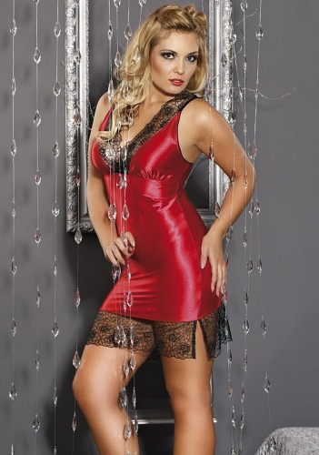 Feurig rotes Negligee mit Spitze