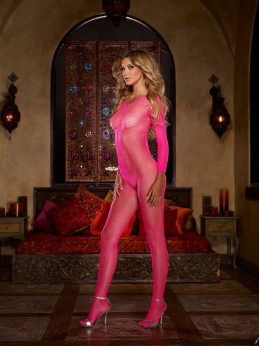 Pinker Netz-Bodystocking in Queen-Size von Dreamgirl