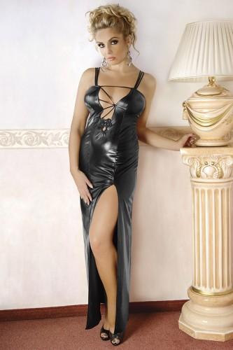 Langes, rückenfreies Kleid aus Wetlook