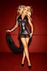langes Kleid mit Schleppe