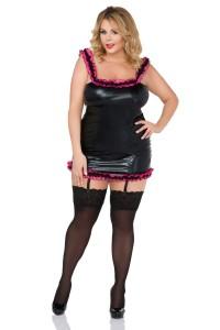 Strapskleid aus Wetlook und Volant aus schwarz/pinken Tüll