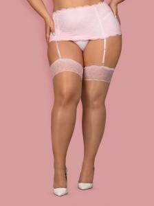 Strümpfe in Beige mit rosa Spitze