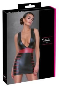 Eng geschnittenes Kleid im schwarzen Mattlook