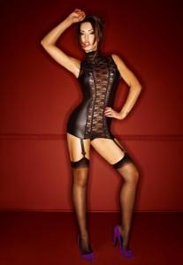 Minikleid mit Strapsen aus Wetlook und weicher Spitze